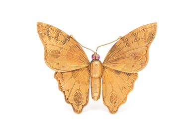 ANTIQUE, YELLOW GOLD BUTTERFLY BROOCH