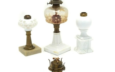 American Glass Whale Oil and Kerosene Lamps, Lot of