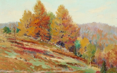 American painter, 20th century: Fall landscape. Signed. Oil on canvas. 43 x 52 cm. –...