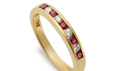 An 18ct gold ruby and diamond half hoop eternity ring.