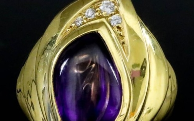 An Amethyst and Diamond Ring, Modern, in 18ct gold...