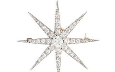 An Antique diamond starburst pendant/brooch