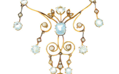 An early 20th century 15ct gold aquamarine and split pearl necklace.