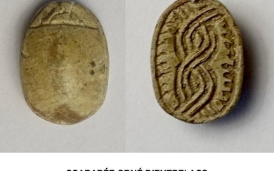 Ancient Egyptian Steatite Scarab with decorated underside