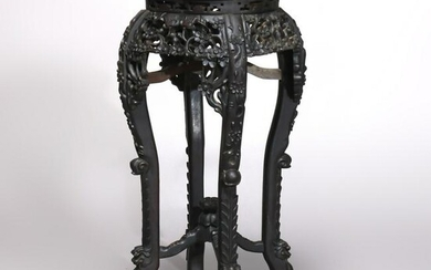 Antique Chinese Carved Rosewood Marble-Top Stand