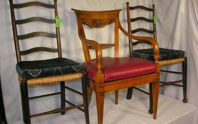 Antique Ladder Back Chairs And A Revival Arm Chair