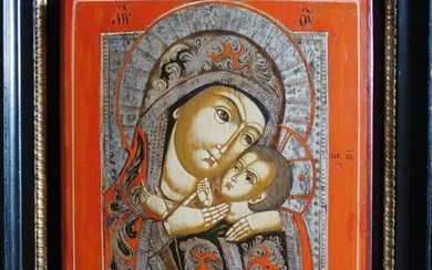 Antique Russian 1870 Icon Of Mother Of God Of Korsyn
