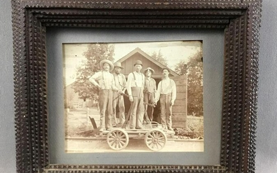 Antique Tramp Art : Frame and Photograph of Railroad