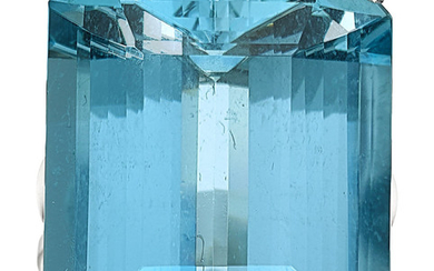 Aquamarine, White Gold Ring The ring features an emerald-cut...