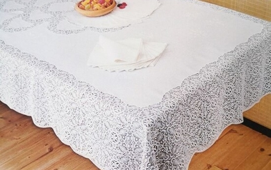 Artisanal tablecloth - 100% linen and Pizzo di Calais original 50s - Second half 20th century