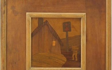 Arts & Crafts Rowley Gallery wooden marquetry panel, The Hal...