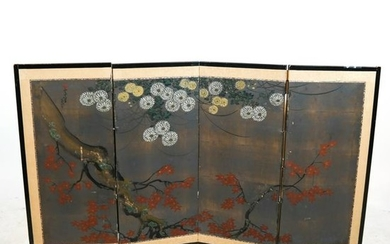 Asian Hand-Painted 4-Panel Screen