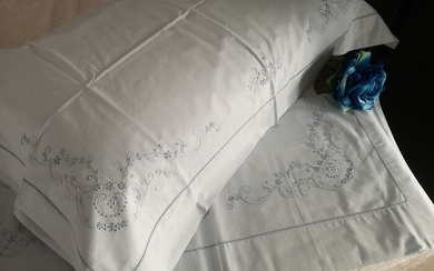 Bellavia cotton percale hand embroidery sheets. blue color - Cotton - 21st century