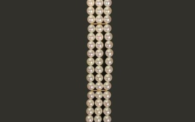 Bracelet with three rows of cultured pearls alternating with three 18K (750°/°°°) yellow gold separators, the clasp also in gold.