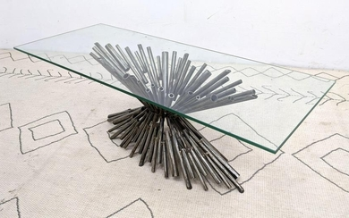 Brutalist Welded Tube Coffee Cocktail Table. Glass Top.