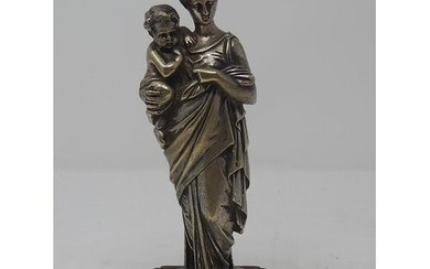C19th Silvered Bronze Figure of Mother & Child: Measuring 21...
