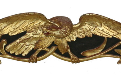 CARVED AND GILT EAGLE STERNBOARD BY GUY E. NICHOLAS OF ROCKLAND, MAINE