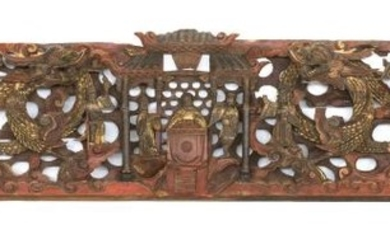 CHINESE CARVED WOOD LINTEL Depicting a dragon, phoenix and carp flanking a pavilion with figures. Gilt and red painted details. Leng...