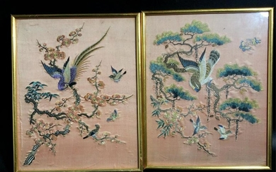 CHINESE SILK EMBROIDERY PANEL OF BIRD AND FLOWER,