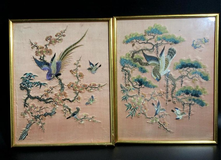CHINESE SILK EMBROIDERY PANEL OF BIRD AND FLOWER
