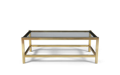 COFFEE TABLE A two tier glass topped coffee...