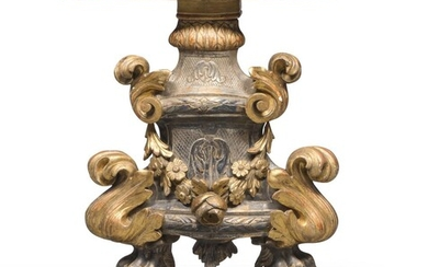 CORNER CONSOLE IN GOLD- AND SILVER-PLATED WOOD ELEMENTS OF THE 18TH CENTURY