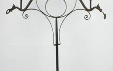 Ca 1900 wrought iron candle floor lamp