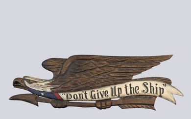 """Carved Wood Eagle Sign """"Don't Give Up The Ship"""""""