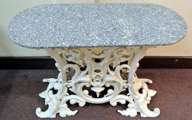 Cast iron garden or patio table with oval marble top, ornate...