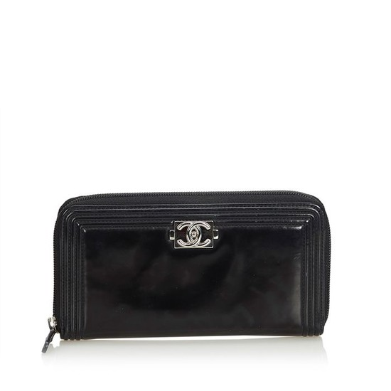 Chanel - Patent Leather Boy Long Wallet Long Wallets
