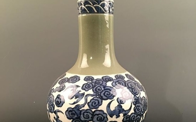 Chinese Blue-White Bottle Vase, Kangxi Mark