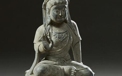 Chinese Carved Black Marble Goddess of Mercy Figure