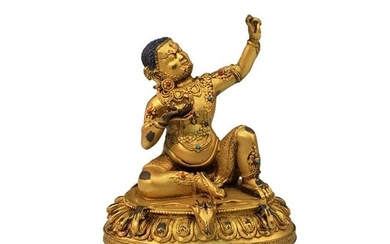 Chinese Gilded-Gold Bronze Buddhist Statue