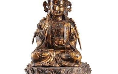 Chinese Partial Gilt Bronze Figure of Guanyin