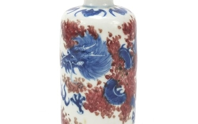 Chinese blue and white with iron red porcelain vase hand pai...