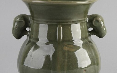 Chinese porcelain vase with celadon-colored glaze and