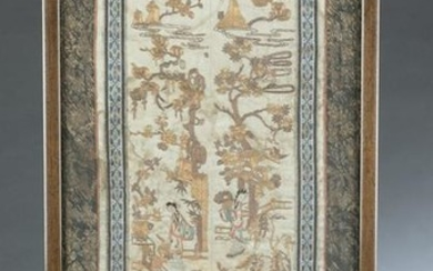 Chinese silk embroidery panel with frame.