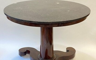 Circular pedestal table in veneer wood and grey marble, triskel-shaped...