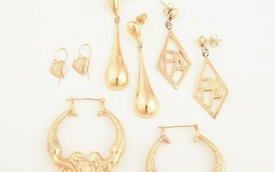Collection of Four Pairs of 14k Yellow Gold Earrings.