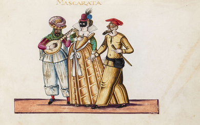 Commedia dell' Arte.- Album of 22 fine miniatures depicting Italian, mainly Venetian, costumes and characters, on vellum, ?Veneto region, [first quarter of the 17th century].