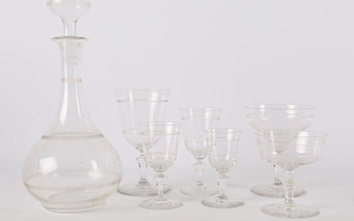 Crystal dinner service with net decoration comprising six champagne glasses, eighteen water glasses, eighteen red wine glasses, twenty-one white wine glasses, nine liqueur glasses and twelve fruit glasses.