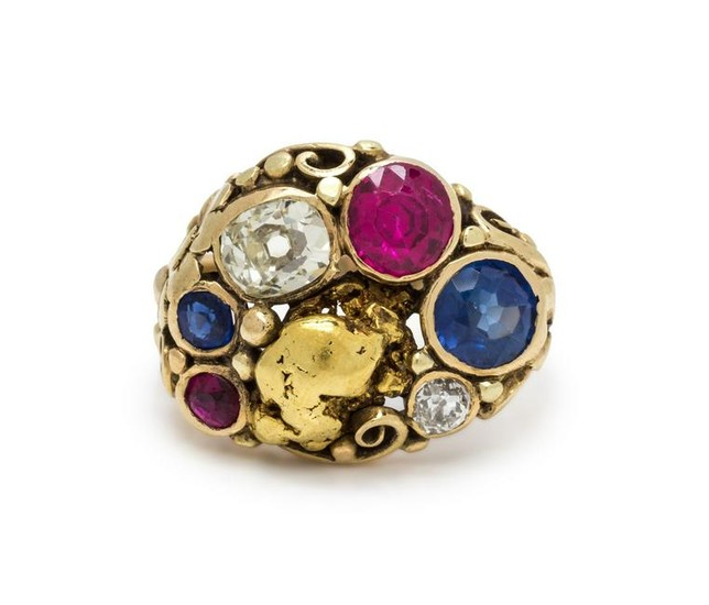 DIAMOND AND GOLD NUGGET RING