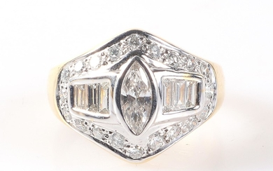 Diamant Brillant Damenring zus. ca. 1,30 ct