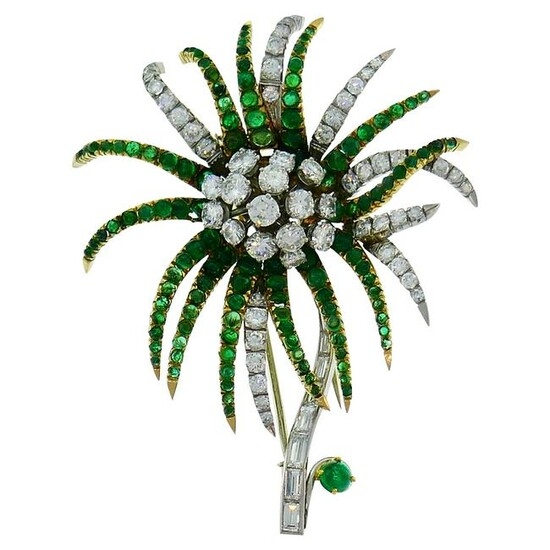 Diamond Emerald Platinum Yellow Gold Brooch Pin Clip
