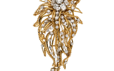 Diamond, Gold Brooch The brooch features European and transitional-cut...