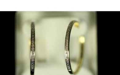 Diamond & Yellow Gold Plated Hoop Style Earrings
