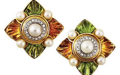 EARRINGS in yellow and white gold with a...