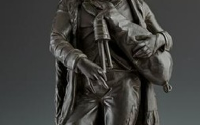 English Patinated Spelter Figure of a Bagpiper, c.