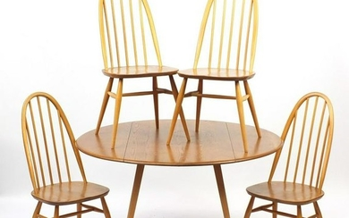 Ercol light elm drop leaf dining table and four stick