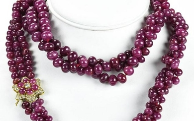 Estate 14kt Gold 1Ct Diamond 1475 Ct Ruby Necklace